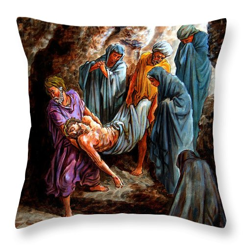 Jesus Burial Throw Pillow featuring the painting Jesus Burial by John Lautermilch