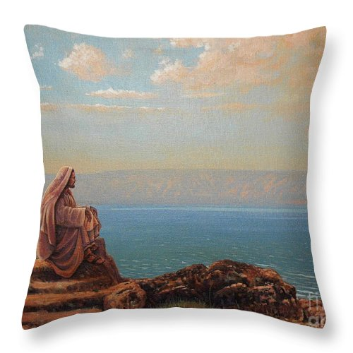Jesus Throw Pillow featuring the painting Jesus By The Sea by Michael Nowak
