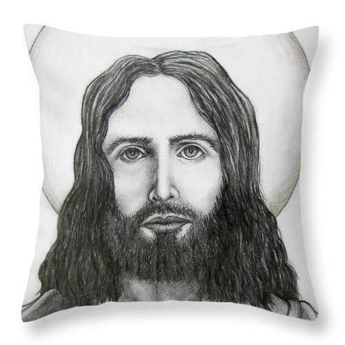 Michael Throw Pillow featuring the drawing Jesus Christ by Michael TMAD Finney