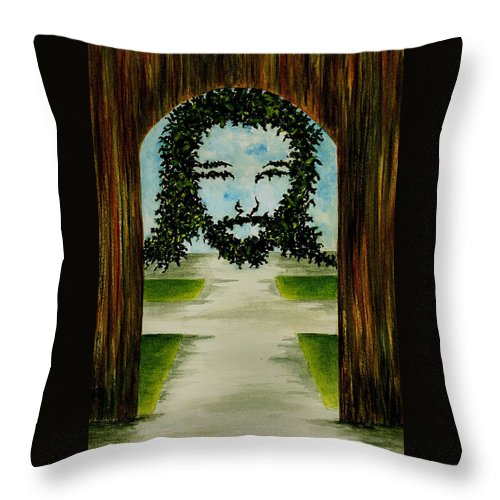Jesus Throw Pillow featuring the painting Jesus Face In Vines by Michael Vigliotti