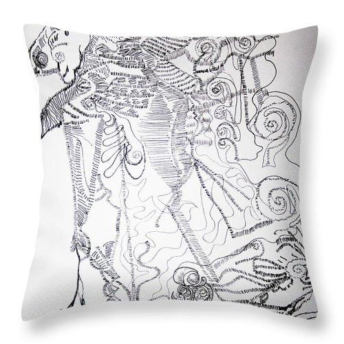 Tilesjesus Elohimplaquesmamamama Africa Twojesus Throw Pillow featuring the drawing Jesus Good Shepherd by Gloria Ssali