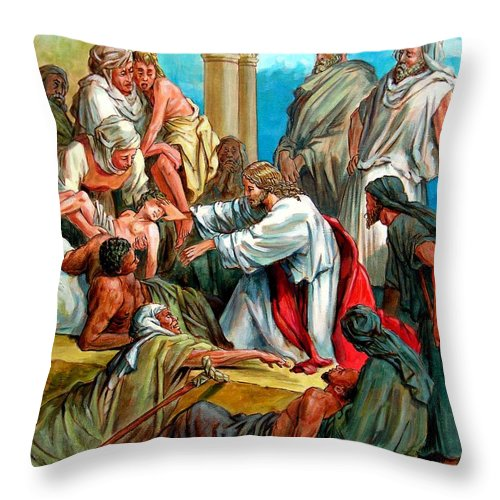 Biblical Scene Throw Pillow featuring the painting Jesus Healing the Sick by John Lautermilch