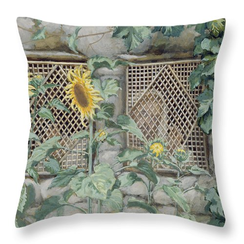 Jesus Looking Through A Lattice With Sunflowers Throw Pillow featuring the painting Jesus Looking Through A Lattice With Sunflowers by Tissot