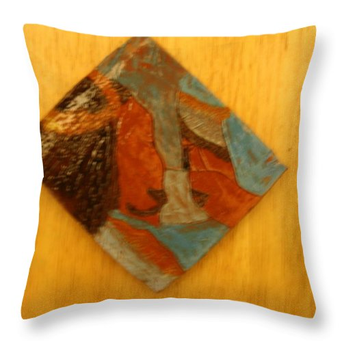 Jesus Throw Pillow featuring the ceramic art Jesus Meets His Mother Mary - Tile by Gloria Ssali