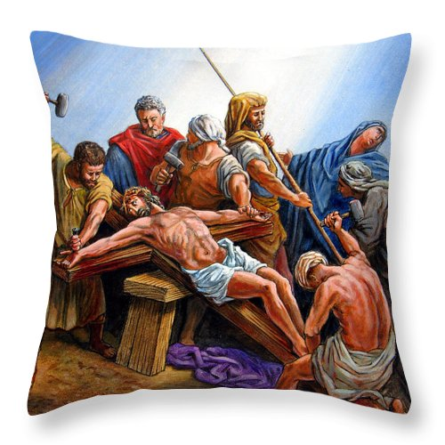 Jesus Throw Pillow featuring the painting Jesus Nailed To The Cross by John Lautermilch