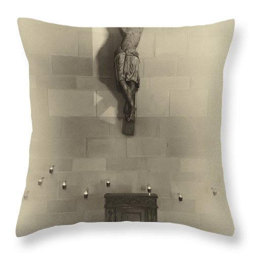 Jesus Throw Pillow featuring the photograph Jesus On The Cross Chapel Icon by Daniel Hagerman