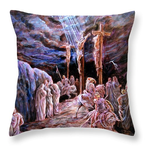 Jesus Throw Pillow featuring the painting Jesus On The Cross by John Lautermilch
