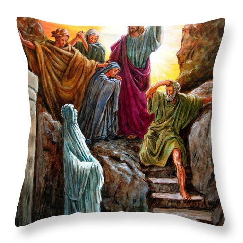 Bible Scene Throw Pillow featuring the painting Jesus Raises Lazarus by John Lautermilch