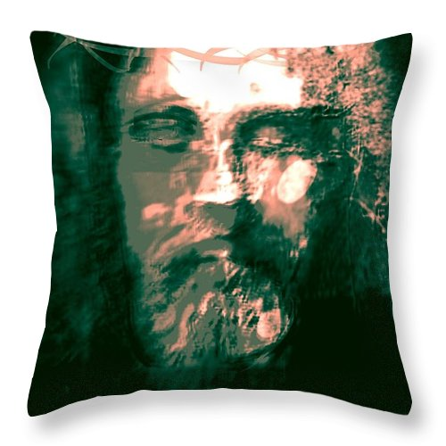 Original Throw Pillow featuring the painting Jesus The Man by Larry Lamb