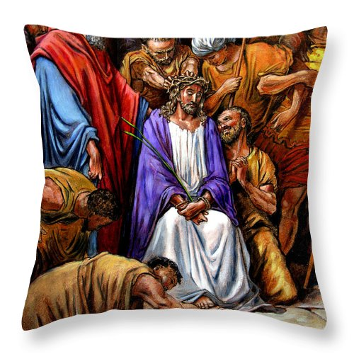 Jesus Throw Pillow featuring the painting Jesus Tormented by John Lautermilch