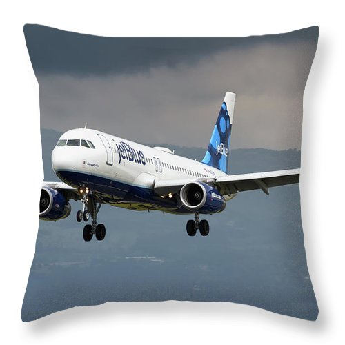 Jetblue Airways Airbus A320 Landing San Jose Costa Rica Mroc Sjo Aviation Airplane Landing Throw Pillow featuring the photograph jetBlue A320 landing with mountain by Andres Meneses