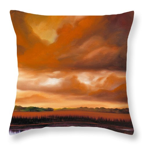 Clouds Throw Pillow featuring the painting Jetties On The Shore by James Christopher Hill