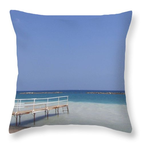 Beach Throw Pillow featuring the photograph Jetty Beach. by Christopher Rowlands