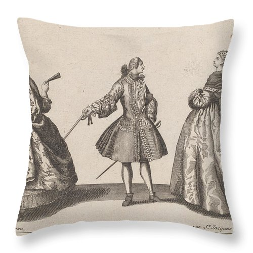 Throw Pillow featuring the drawing Jeune Seigneur Fran?ois/dame En Mantille by Published By Jacques Ch?reau