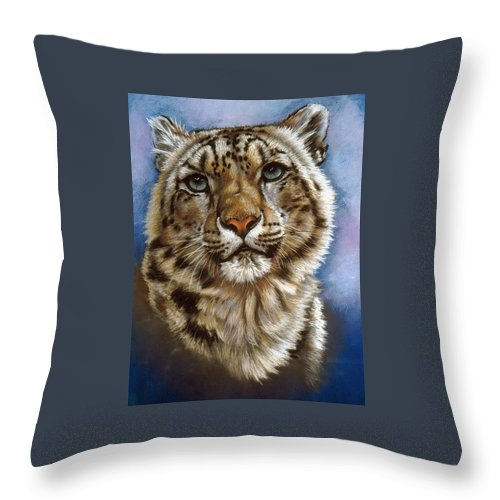 Snow Leopard Throw Pillow featuring the pastel Jewel by Barbara Keith