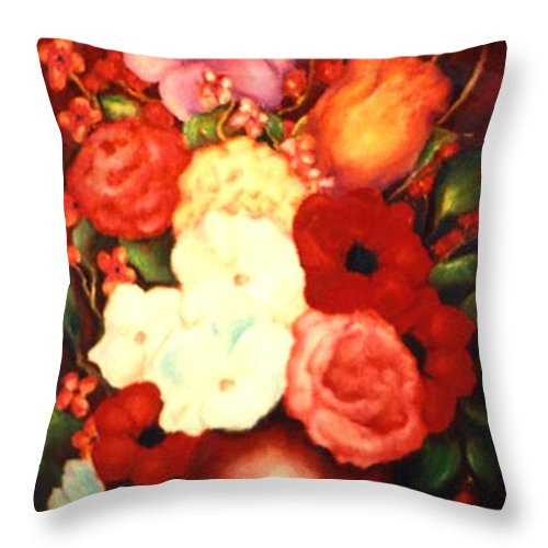 Flowers Throw Pillow featuring the painting Jewel Flowers by Jordana Sands