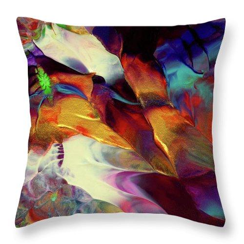 Original Fine Art Painting Throw Pillow featuring the painting Jewel Island by Nan Bilden