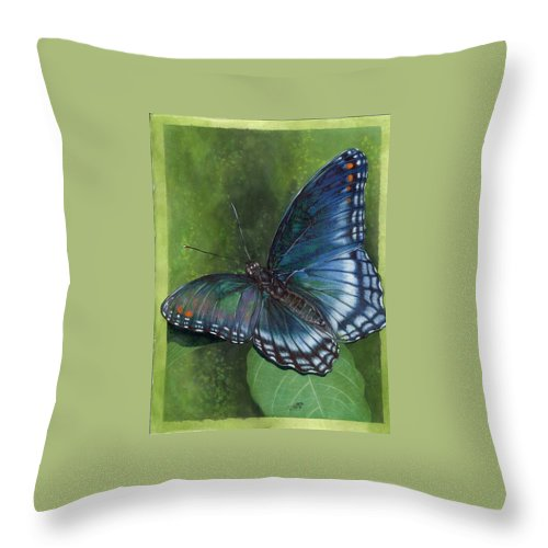 Insects Throw Pillow featuring the mixed media Jewel Tones by Barbara Keith