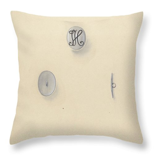 Throw Pillow featuring the drawing Jewelry Button by John H. Tercuzzi