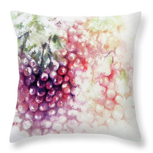 Grapes Throw Pillow featuring the painting Jewels On The Vine by Rachel Christine Nowicki