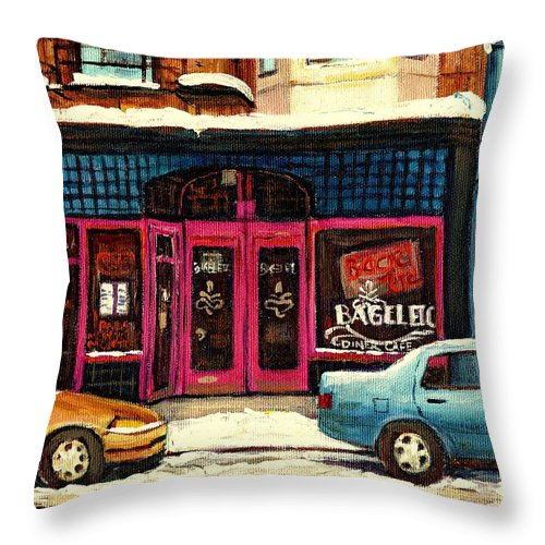 Carole Spandau Throw Pillow featuring the painting Jewish Montreal By Streetscene Artist Carole Spandau by Carole Spandau