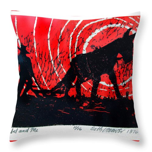 Jezebel And Me Throw Pillow featuring the relief Jezebel And Me by Seth Weaver