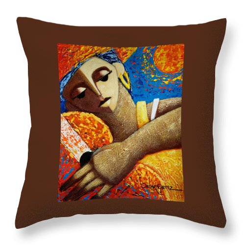 Puerto Rico Throw Pillow featuring the painting Jibara y Sol by Oscar Ortiz