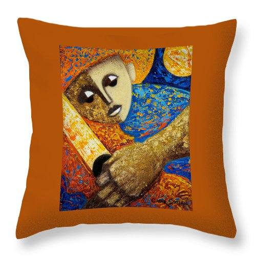 Color Throw Pillow featuring the painting Jibaro Y Sol by Oscar Ortiz