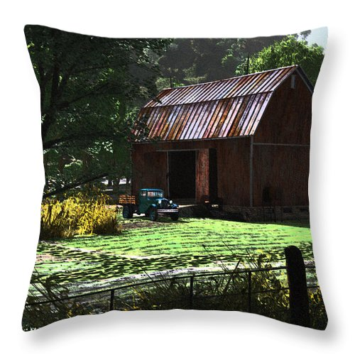 West Virgina Country Roads Mountain Mama Throw Pillow featuring the digital art Jim Bob's Barn by Steven Palmer