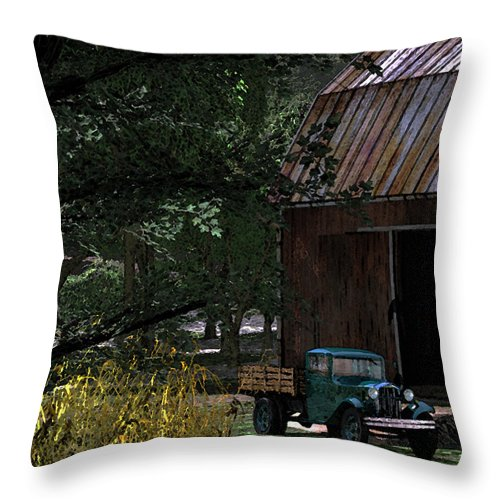 1930 Ford Country Barn Moonshine Waltonsmountain Throw Pillow featuring the digital art Jim Bob's Ford by Steven Palmer