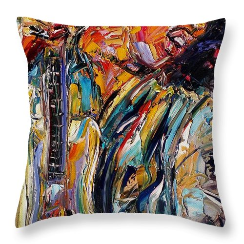 Jimi Hendrix Painting Throw Pillow featuring the painting Jimi Hendrix by Debra Hurd