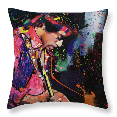 Jimi Throw Pillow featuring the painting Jimi Hendrix II by Richard Day
