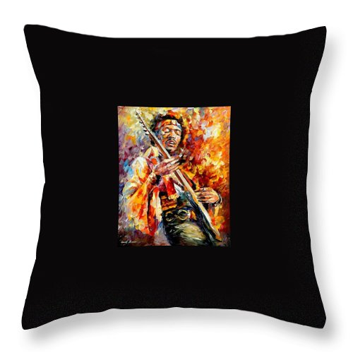 Music Throw Pillow featuring the painting Jimi Hendrix by Leonid Afremov