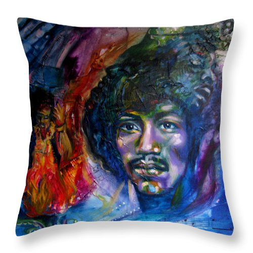 Music Throw Pillow featuring the painting Jimi Hendrix by Sofanya White