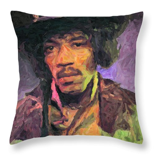 Jimi Hendrix Throw Pillow featuring the painting Jimi Hendrix by Zapista OU