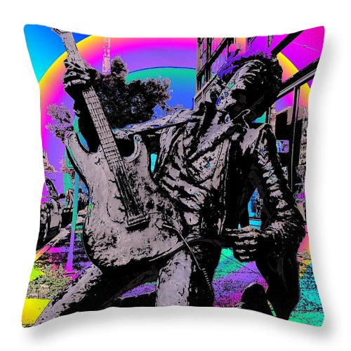 Seattle Throw Pillow featuring the photograph Jimi Hendrix by Tim Allen
