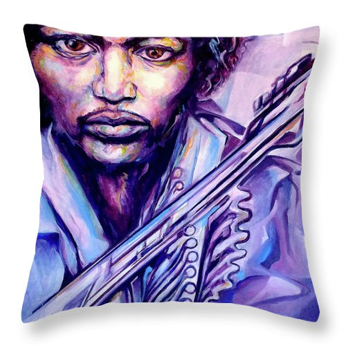 Throw Pillow featuring the painting Jimi by Lloyd DeBerry
