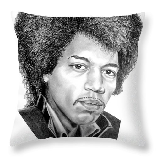Jimmi Hendrix Throw Pillow featuring the drawing Jimmi Hendrix By Murphy Art. Elliott by Murphy Elliott