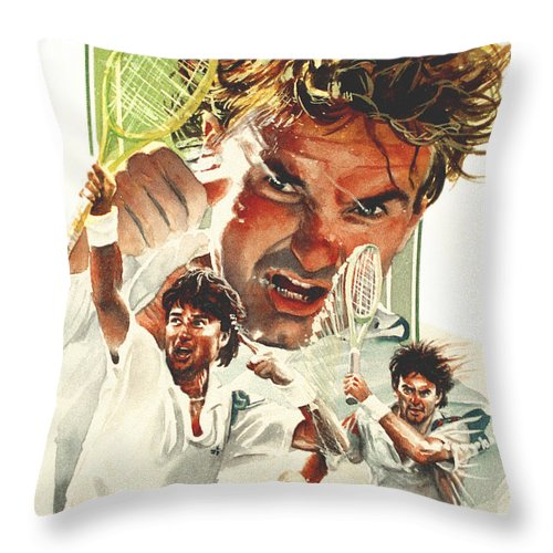 Sports Throw Pillow featuring the painting Jimmy Connors by Ken Meyer jr