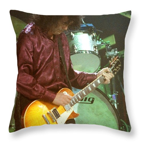 Robert Plant Throw Pillow featuring the photograph Jimmy Page-0002 by Timothy Bischoff