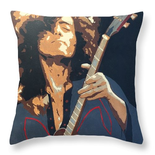 Jimmy Page Led Zeppelin Rock Star Guitar Player Throw Pillow featuring the painting Jimmy Page by Ken Jolly