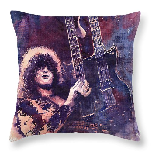 Watercolour Throw Pillow featuring the painting Jimmy Page by Yuriy Shevchuk