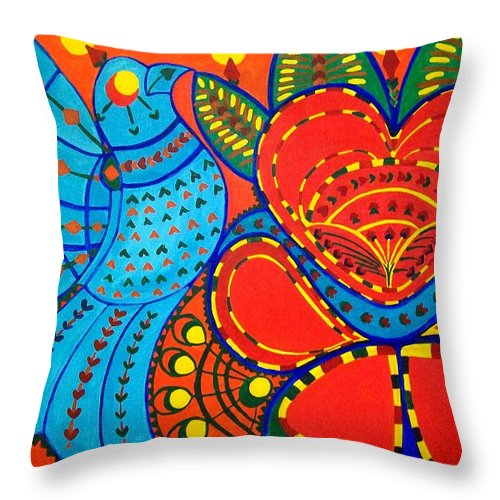 Contemporary Folk Throw Pillow featuring the painting Jinga Bird - Jinga Bird Series by Fareeha Khawaja