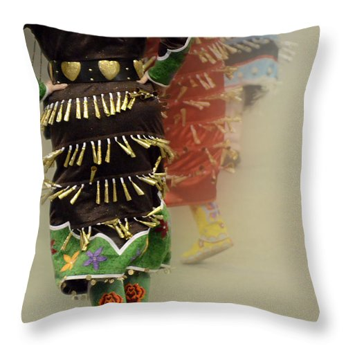 Pow Wow Throw Pillow featuring the photograph Pow Wow Jingle Dancers 2 by Bob Christopher