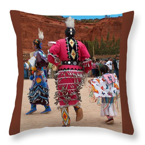 Pow-wow Throw Pillow featuring the photograph Jingle Dress And Fancy Shawl Dancers by Tim McCarthy