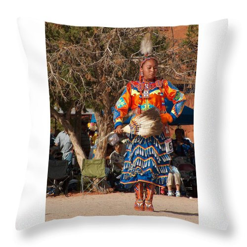 Pow-wow Dancer Throw Pillow featuring the photograph Jingle Dress Dancer at Star Feather Pow-Wow by Tim McCarthy