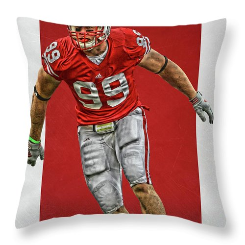 buy online 818af 25e76 Jj Watt Wisconsin Badgers Art Throw Pillow