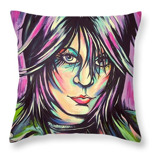 Joan Jett Throw Pillow featuring the painting Joan Jett by Amy Belonio