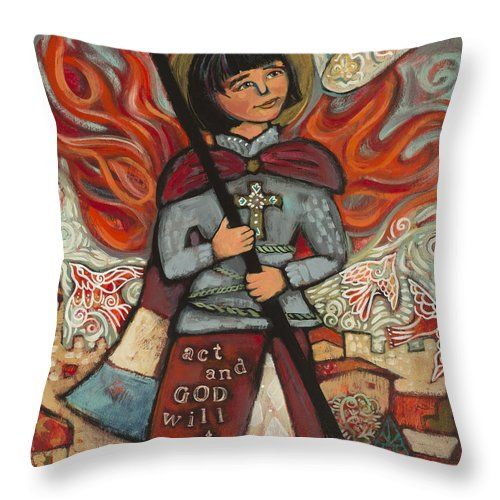 Jen Norton Throw Pillow featuring the painting Joan Of Arc by Jen Norton