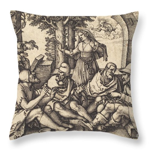 Throw Pillow featuring the drawing Job Conversing With His Friends by Sebald Beham